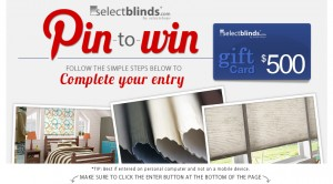 SelectBlinds.com $500 Pin to Win Sweepstakes