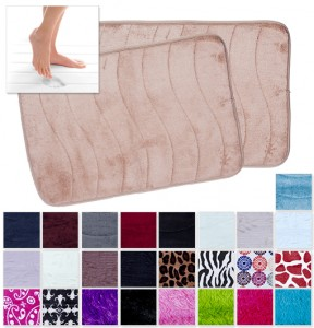 2 Pack - North Point Memory Foam Bath Rugs in Solid Colors or Jazzy Prints