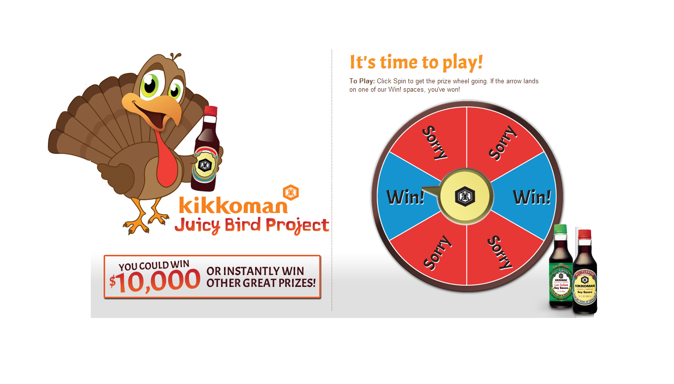 Kikkoman Juicy Bird Sweepstakes and Instant Win Game ends 12/