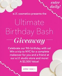 e.l.f. Cosmetics Ultimate Birthday Bash Giveaway