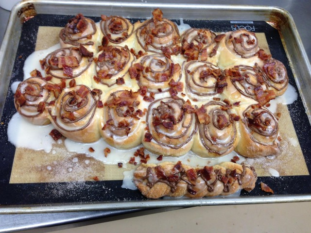 Applewood Bacon & Chocolate Hazelnut Spread Cinnamon Rolls