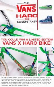 Journeys Vans Haro Bike Sweepstakes