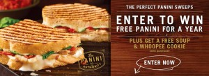 Corner Bakery Cafe Win Free Panini for a Year Sweepstakes
