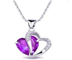 Get this beautiful Amethyst Double Heart Necklace FREE