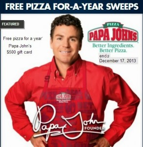 Pepsi & Papa John's Free Pizza for-a-Year Sweepstakes