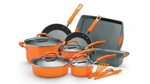 Rachael Ray 15 Piece Nonstick Oven-Safe Enamel Cookware Set with Glass Lids, Baking Pans, & Stay-Cool Handles