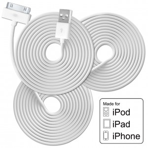 FREE and FREE SHIPPING TOO! Bundle of 3 Premium Certified 6.5 Feet USB Data Sync Cables for Apple iPhone or iPad