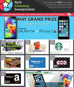 Perk - iPhone 5s, Galaxy S5, Gift cards and More Sweepstakes