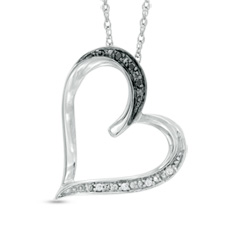 Black and White Diamond Accent Tilted Heart Pendant in Sterling Silver Sweepstakes