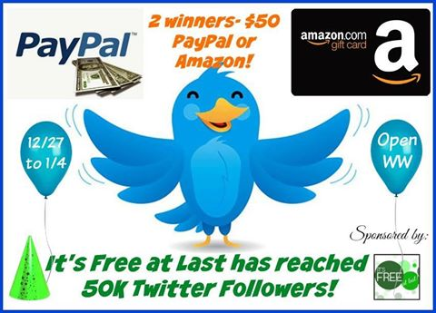 Winners Choice of $50 Paypal or Amazon Giveaway
