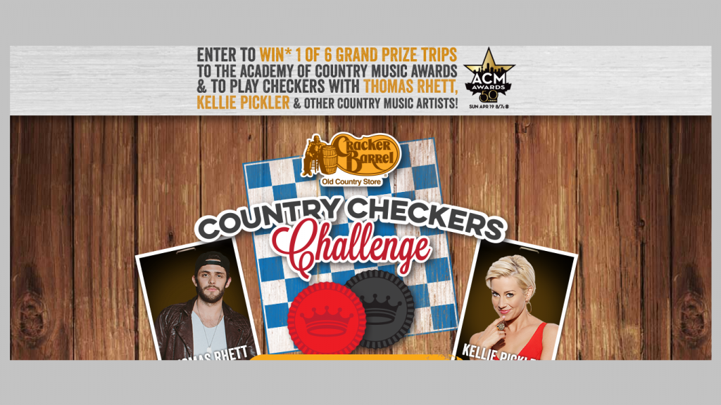 Cracker Barrel Old Country Store Country Checkers Challenge Sweepstakes