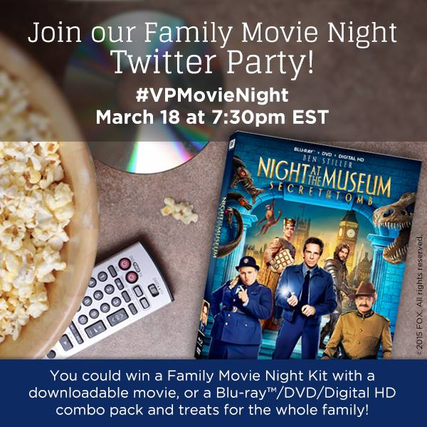 """Night at the Museum: Secret of the Tomb"" ‪#‎VPMovieNight‬ Pre-Twitter Party Giveaway"