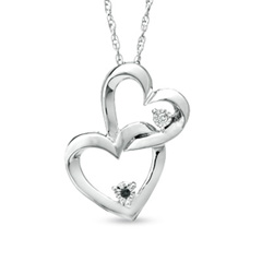 Black and White Diamond Interlocking Hearts Pendant Sweepstakes
