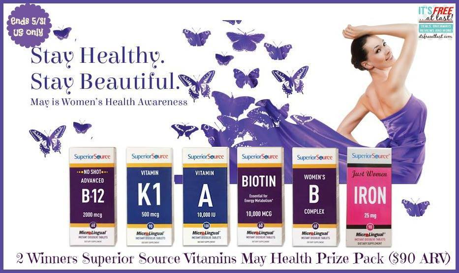 Superior Source Vitamins - May Health Prize Pack Giveaway