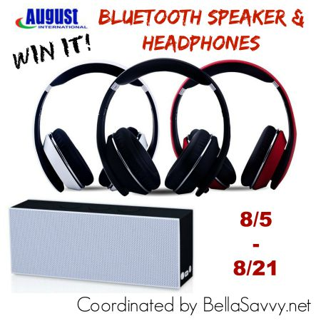 August - SE30 Portable Bluetooth Speaker AND EP650 Bluetooth Wireless Stereo Headphones Giveaway