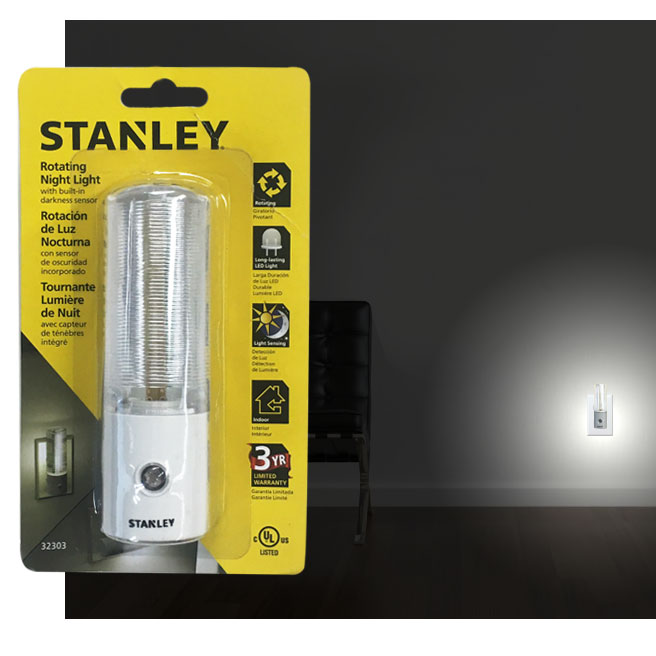 Stanley Rotating LED Automatic Night Light with Built-In Light Sensor