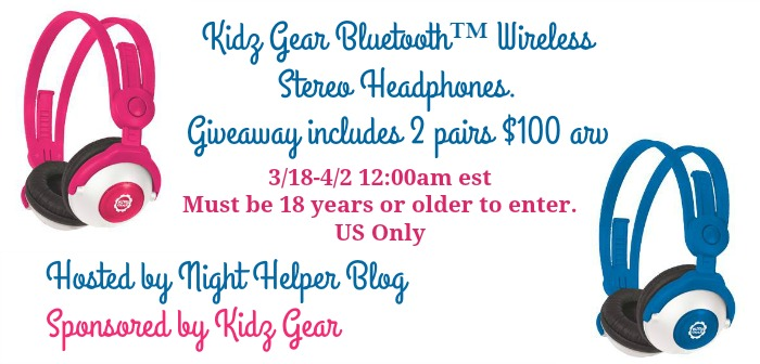 Kidz Gear Bluetooth Wireless Stereo Headphones Giveaway