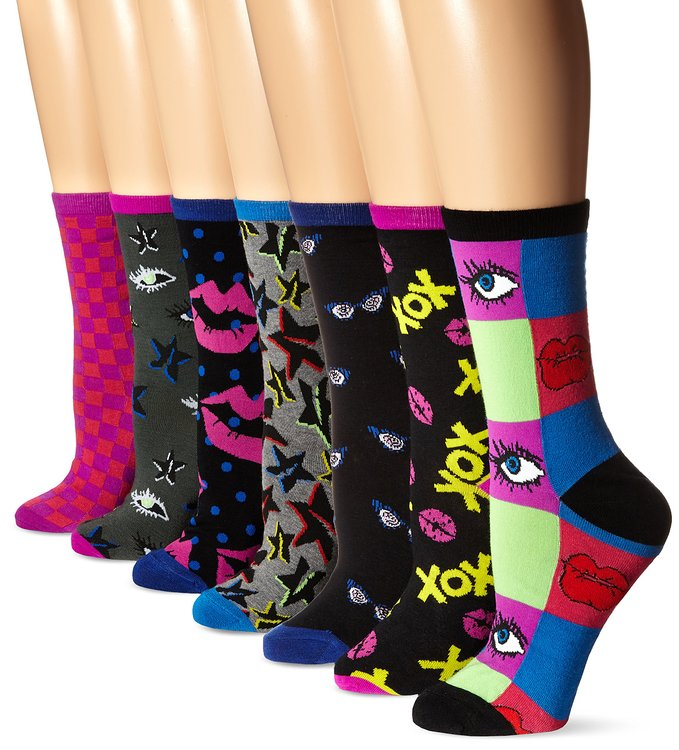 Betsey Johnson Women's Here's To Looking at You Crew Sock Gift Box 7-Pack -- $6.61